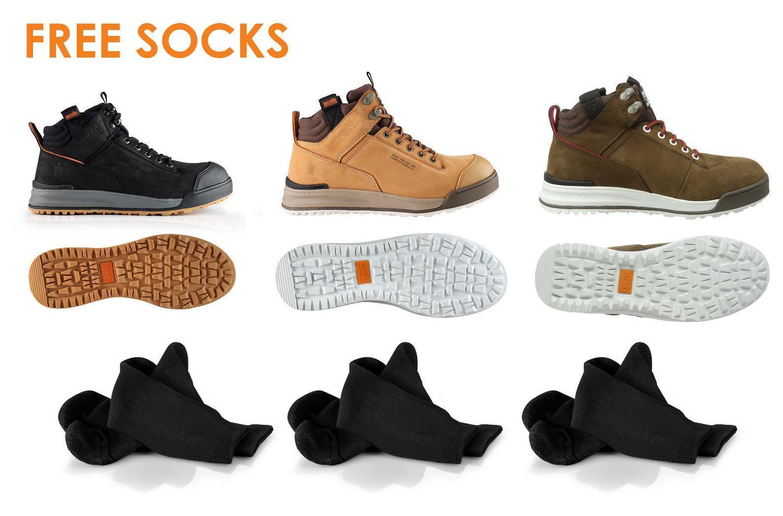 Scruffs lacets travail   sécurité randonneur bottes + chaussettes acier toe en cuir