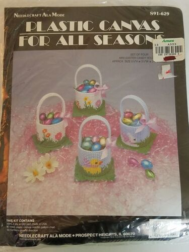Needlecraft Ala Mode NOS MINI EASTER CANDY HOLDERS S91-629 Plastic Canvas Kit