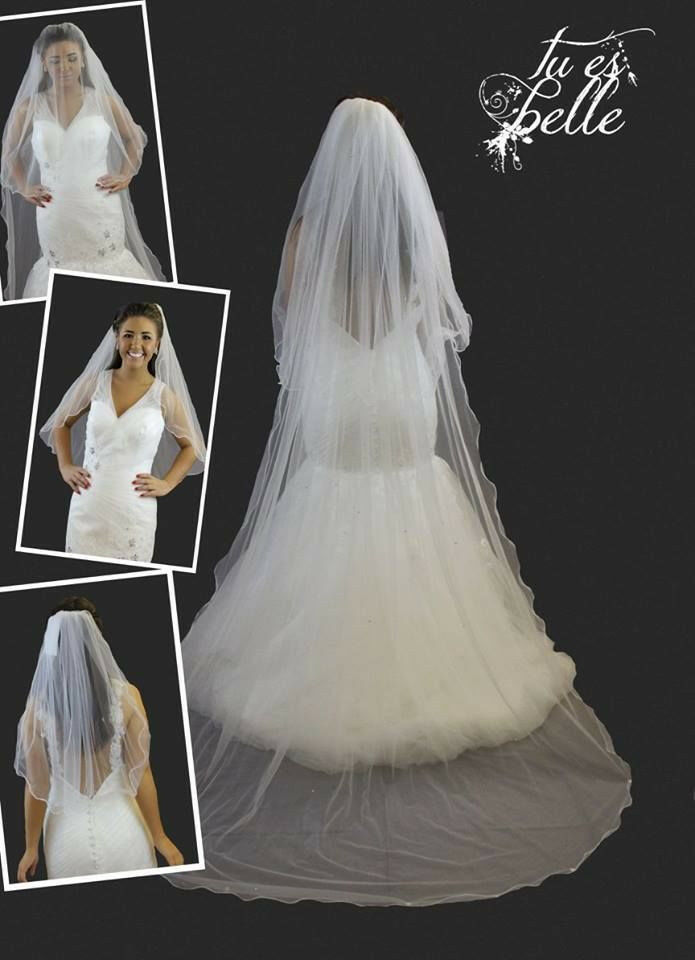 2 Tier Cathedral Ivory White Detachable Veil Satin Edge Crystals Wedding Large