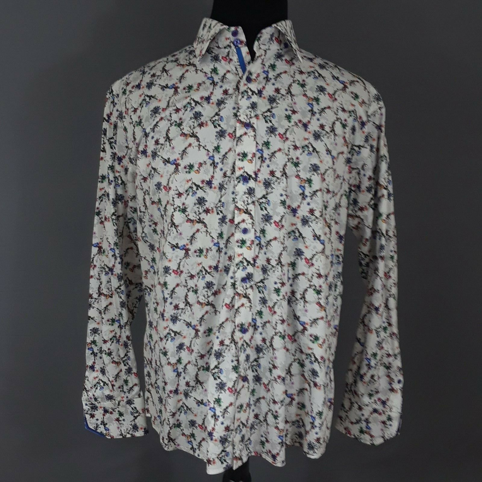 CLAUDIO LUGLI Men's Pure Cotton Floral Long Sleeve Button Down Shirt XXL 45-46