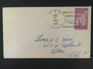 1940 Us Navy Post Office Hong Kong China Cover To Alton Il Usa Uss Asheville Ebay