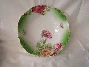"Good Beautiful Vintage Handpainted Serving Bowl 9"" Diameter X 2 1/4"" Height Vgc Antiques Bowls"