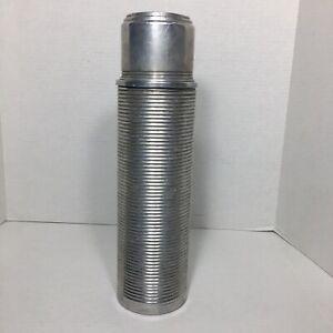 Vintage-Thermos-Norwich-Conecticut-Conn-Model-2480-Antique-Aluminum-Metal-Cork
