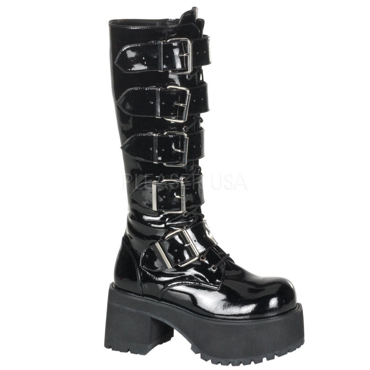 Demonia Gótico Punk Cosplay Ranger 318 Damas botas Tacón Rodilla Hebillas de plataforma