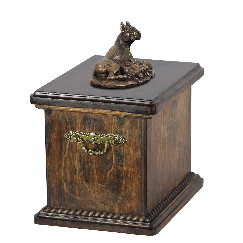 Boxer tedesco tipo 2 - urna di legno con l'immagine di un cane Art Dog IT