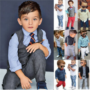 Kids Baby Boys Formal Clothes Gentleman Outfit Tops Coat Pants Wedding Costume