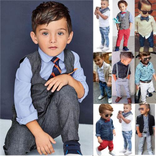 Kids Baby Boy Gentleman Outfit Set Shirt Jacket Pants Wedding Formal Clothes HOT