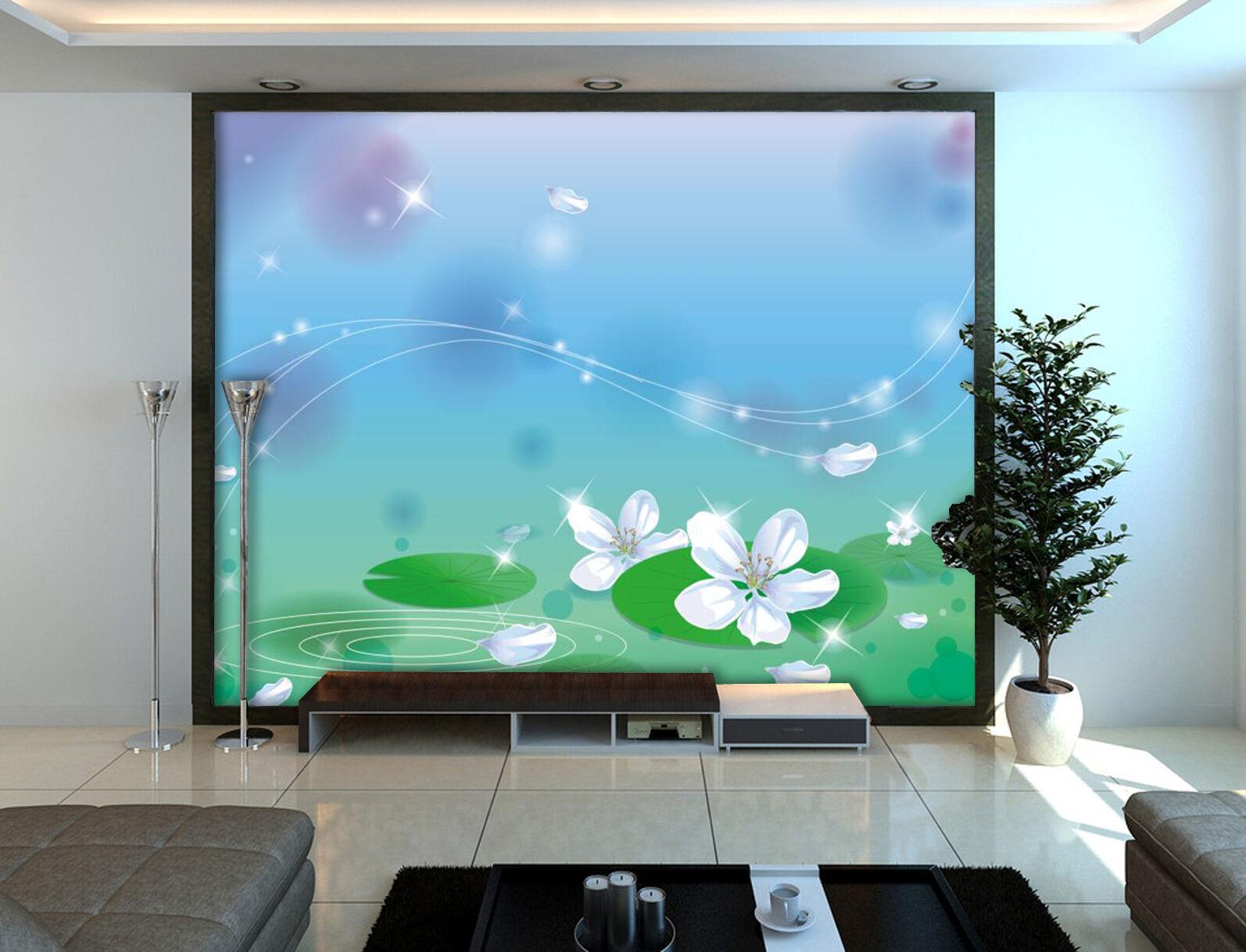 3D Lotus 029 Photo Papier Peint en Autocollant Murale Plafond Chambre Art