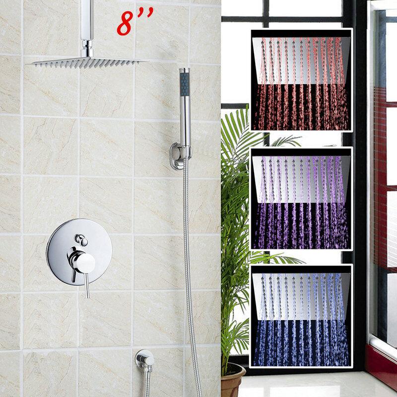 DEL 8  Salle de Bain Fixation Plafond Pluie de douche handspary valeur Mélangeur Robinet Set