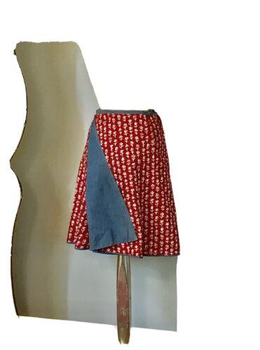 Vintage 1970s Cotton Wrap Skirt Denim Chambray Rev