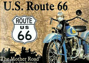 Nostalgic-Art-Magnet-8-cm-x-6-cm-US-Route-66-Mother-Road-Main-Street-Harley