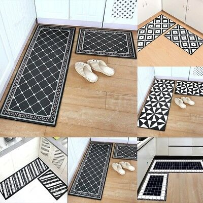 Black White Grid Non Slip Kitchen Floor Mat Washable Rug
