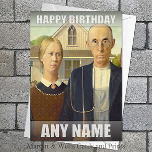 Image Is Loading Grant Wood Greeting Birthday Card American Gothic Blank