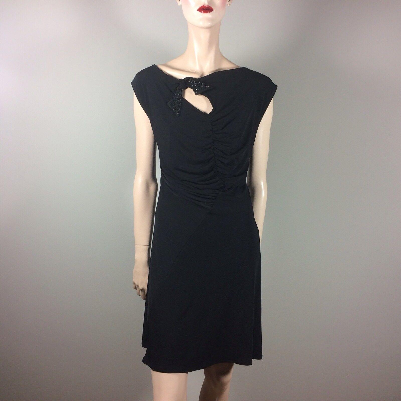 AMOR & PSYCHE Damen Kleid XL L 42 40 Schwarz Kurz Strass Schleife Glamour Style