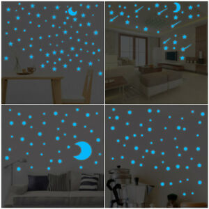 Glow-In-Dark-Star-Wall-Stickers-Round-Dot-Star-Moon-Luminous-Kids-Room-Decor