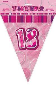 GLITZ-PINK-FLAG-BANNER-18TH-BIRTHDAY-3-6M-12-039-BIRTHDAY-PARTY-DECORATION