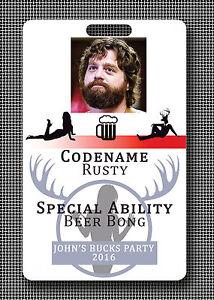 Custom dólares Stag Soltero Fiesta ID Badge Tarjetas-Pub Crawl Beer Pong