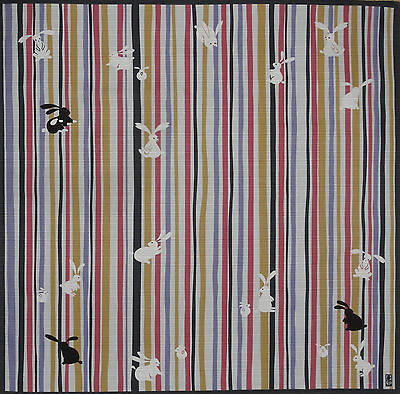 Furoshiki Wrapping Cloth Japanese Fabric 'Bunny Rabbits on Stripes' Cotton 50cm