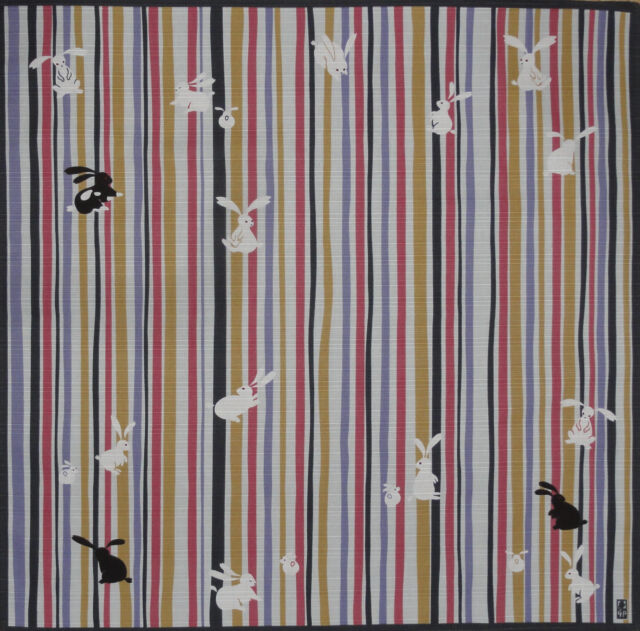 Furoshiki Wrapping Cloth Japanese Fabric 'Bunny Rabbits on Stripes' Cotton 50cm
