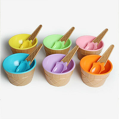 New kid Ice Cream Bowl Ice Cream Cup Dessert Container Holder with Spoon