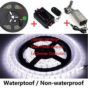 Cool-White-SMD-5630-LED-Strip-Flexible-Light-Dimmer-Controller-Power-Adapter