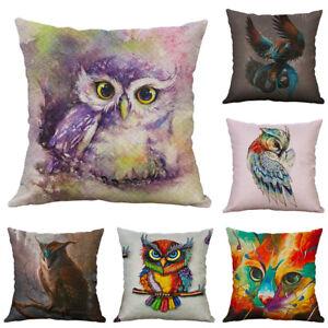 Owl-Animal-Printing-Cotton-Linen-Pillow-case-Cushion-Cover-Sofa-For-Home-Decor