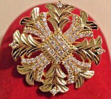 Vintage Gold Plated Crystal Rhinestone Maltese Cross Brooch Pin Pendant