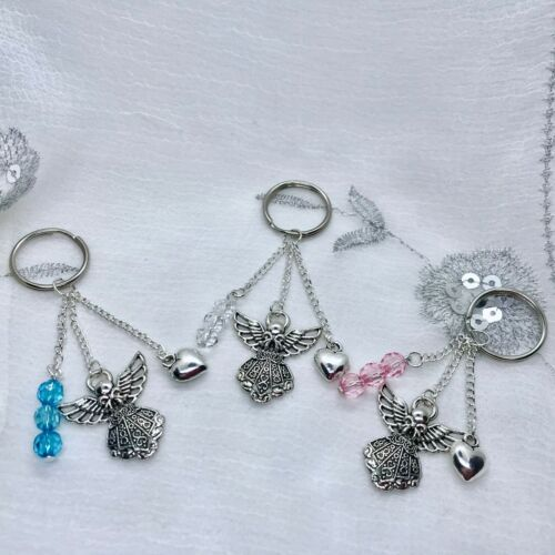 New Guardian Angel and Heart Charm Dangly Keyring ~ Gift idea ~ Mothers Day
