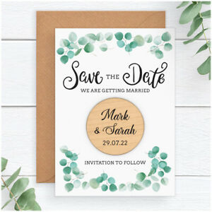 PERSONALISED-Eucalyptus-Wedding-Save-The-Date-Cards-Wooden-Magnets-Rustic-Boho