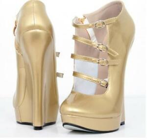 """Womens 7/"""" Extreme High Heels Wedges uk3-10 Costume Lockable Ballet Boots US 5-16"""