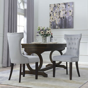 NEW-Premium-Dining-Chair-Accent-Living-Room-Armless-Side-Chairs-Set-of-2-Gray