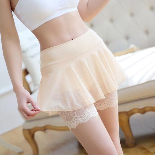 Damen Netz Shorts Spitze Sicherheits Unterwäsche Unterhosen Unterrock Rock