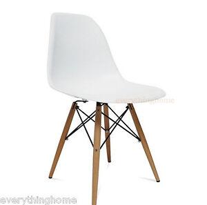 White-Eiffel-Plastic-Shell-Pyramid-Dining-Side-Chair-Wood-Leg-Dowel-Base