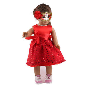 Fashion-Red-Dress-Sequins-Clothes-For-18-Inch-Doll-Toy-Girl-Tool-Kid