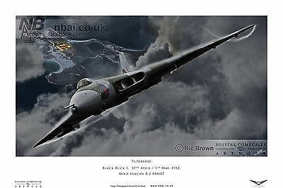 Avro Vulcan B.2 XM607 Operation Black Buck, Falklands War, Digital Artwork