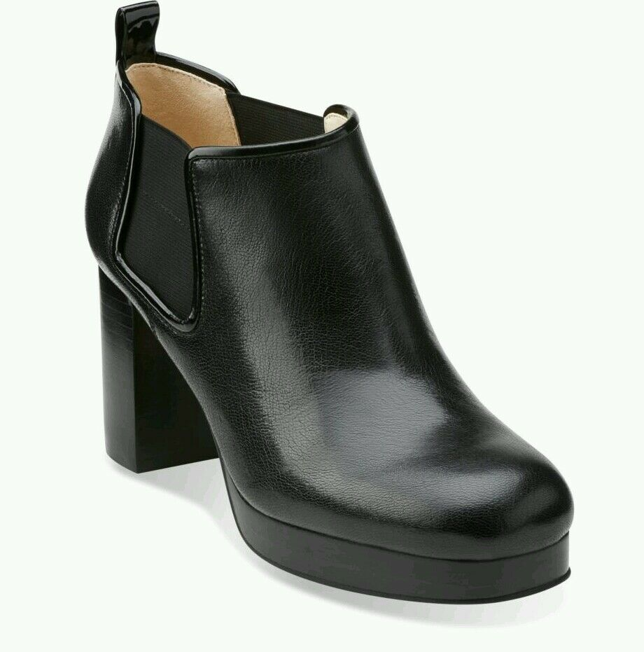 SIZE UK 8 ORLA KIELY AUDREY BLACK LEATHER PLATFORM WOMENS CHELSEA BOOTS