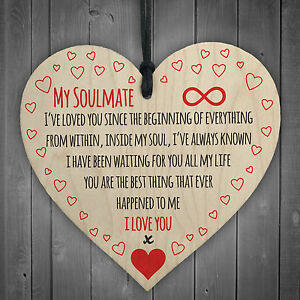 My Soulmate I Love You Wooden Hanging Heart Plaque Cute Valentines