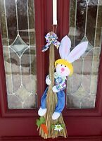 Easter Bunny Rabbit Door Wreath Not Foiled Basket Egg Floral Pick Swag Spray
