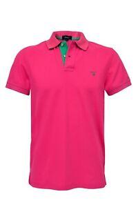 Gant Contrast Collar Pique SS Rugger Poloshirt Gr.M Rosa / Green Neu* Shirt