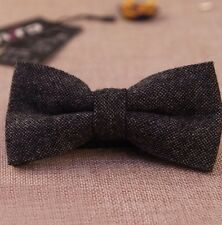 New Charcoal Grey Tweed Style double layer bow tie. Luxurious Feel. Uk Seller.