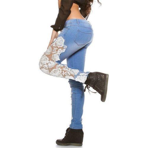Lady Jean Skinny Denim Pantalon Floral Lace Hollow Out Crochet Causal