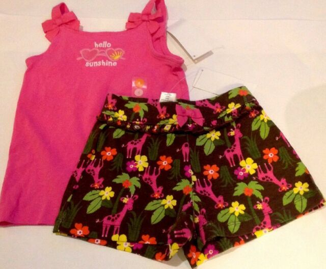 Gymboree Size 5 6 Spring Flowers Top /& Blue Striped Shorts Outfit Pink Girls New