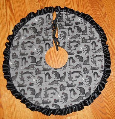 "SPOOKY BLACK CATS, Mice, Bird Tree Skirt, Lamp Skirt 20"" dia HALLOWEEN, prim"