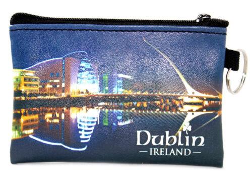 Irish Dublin City Lights scène de Voyage Porte-clés petite carte monnaie zippée sac à main