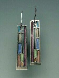 Multi-Color-Gemstone-Woman-925-Silver-Ear-Hook-Drop-Dangle-Party-Gift-Earrings