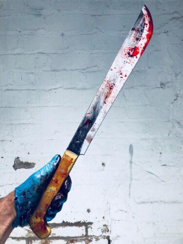 Realistico BLOODY Machete Movie Prop PU Vs Jason Halloween Horror sicuro Arma