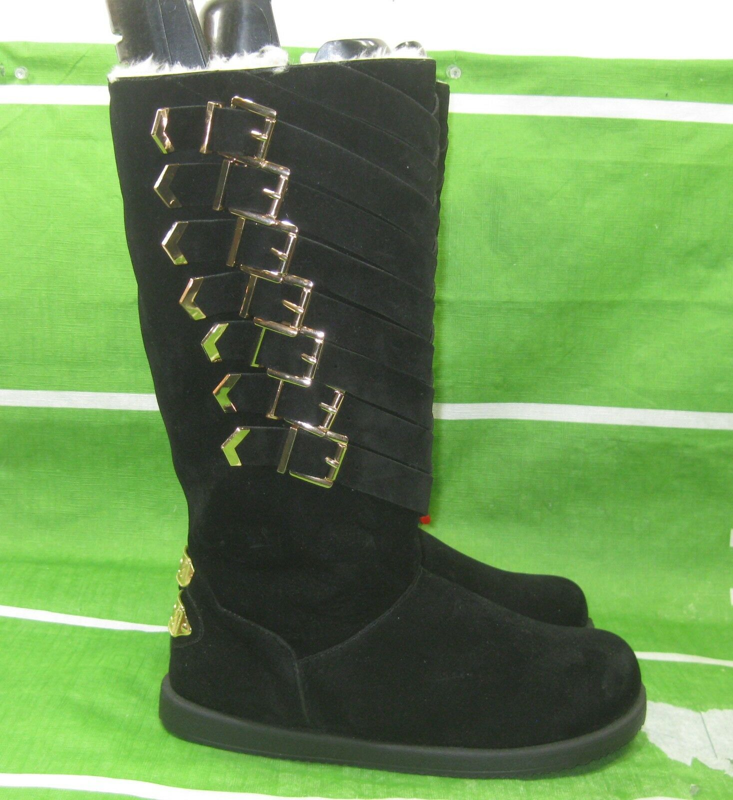 New ladies Black gold Buckle Round Toe  Winter Mid-Calf Boot Size 9.5