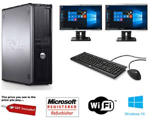 Dell-Dual-Screen-Ordinateur-De-Bureau-Tour-Pc-amp-TFT-Ordinateur-avec-Windows-10-amp-WiFi-amp-8-Go
