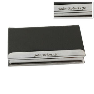 Free personalized leatherette business card case holder for Personalized business card holder for men