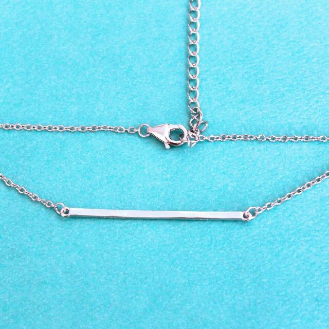 """Sterling Silver Bar 16+2"""" Necklace"""